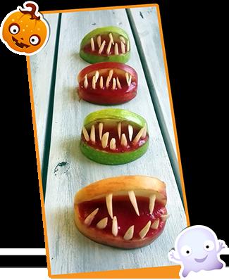 Owocowe szczęki na halloween